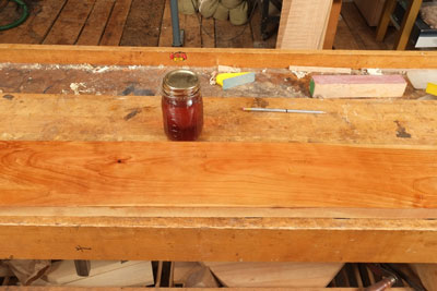 Rubbing over wood repairs with french polish