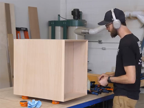 Glued-up plywood furniture box carcass