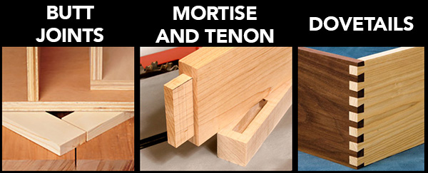 butt joints, mortise and tenon joints, and dovetail joints