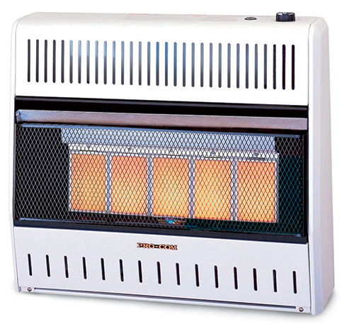 Wall mounted radiant heater with glowing panel