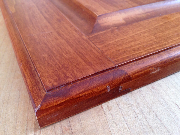Close up of a frame joinery for a door that has been glued