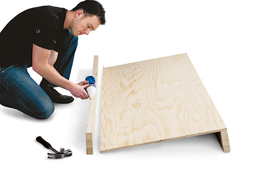 Gluing plywood panels together for coffee table bed