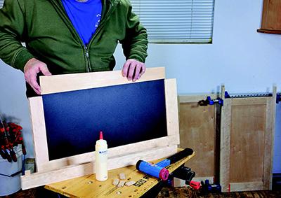 Gluing cabinet door frames around magnetic chalkboard panel