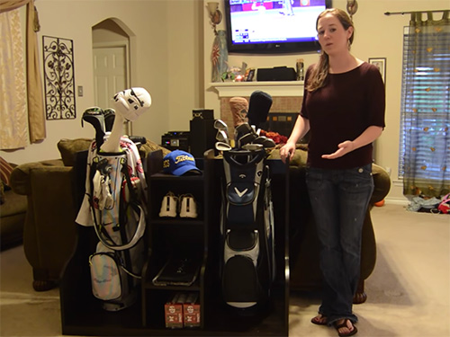 April WIlkerson and her golf bag and supplies storage unit