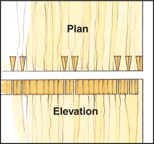 Drawing of dovetail pattern with grouped pins at the end of the joint