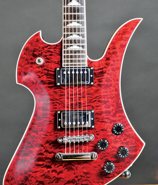 BC Rich electric guitar with dyed finish over figured maple