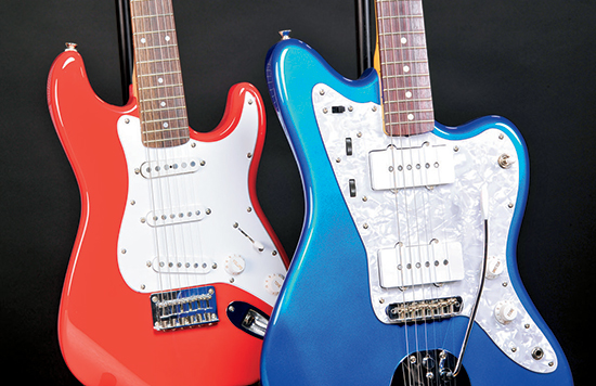 Fender guitars with Duco and Lucite colored finishes