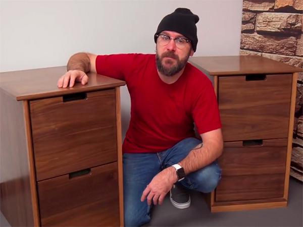 David Picciuto and his plywood filing cabinet