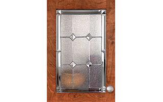 decorative glass on cabinet door