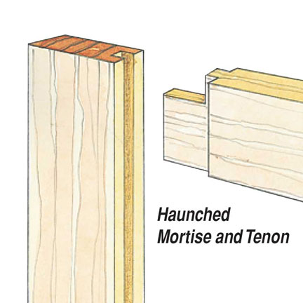 Drawing of a haunched mortise and tenon joint