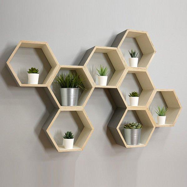 hexagon floating shelf