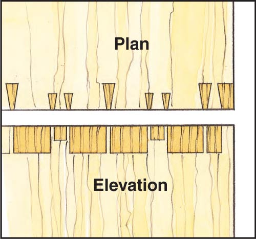 Drawing of a hound's tooth dovetail joint layout