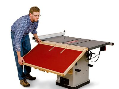 Unfolding shop-built table saw outfeed table