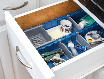 kitchen junk drawer with organizers