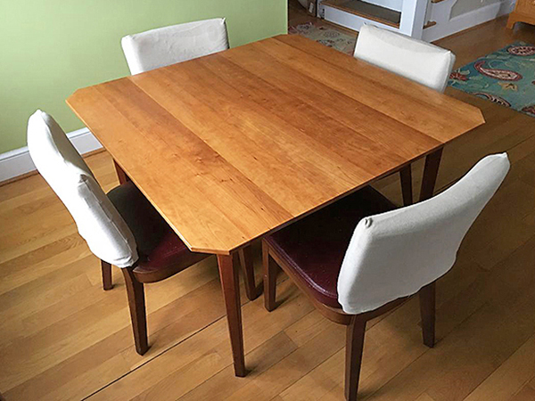 Kitchen table with a clear water-based polyurethane finish