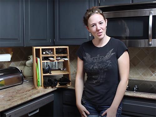 April Wilkerson and her kitchen utensil organizer
