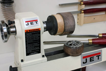 A lathe with a turned faceplate attached