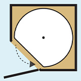 Diagram of a lazy susan with a flat shaped section