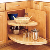 Example of half-moon style lazy susan shelving