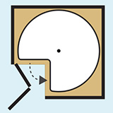 digram of a lazy susan shelf with a pie cut wedge