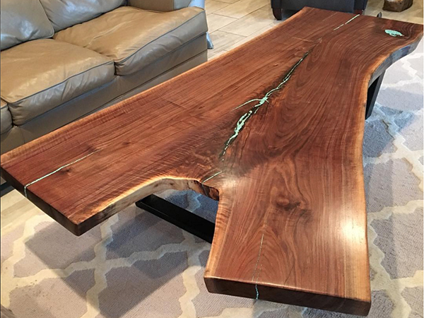 Live edge coffee table with epoxy poured into gaps