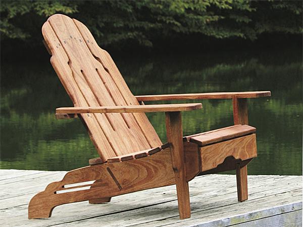 Mahogany adirondack chair on a dock