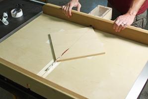 Making a diagonal cut using a crosscut sled