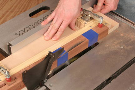 Cutting the other side of the taper on table saw jig