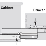Diagram of slots in drawer and cabinet portions of slide for adjustment