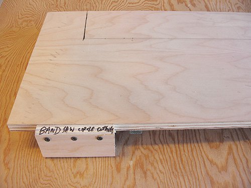 Marking out the radius for a circular cut on a band saw jig