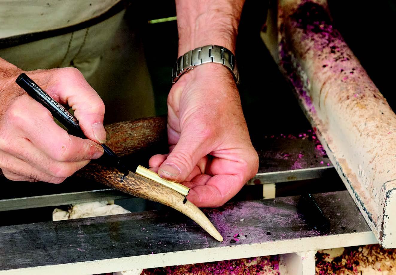 Preparing deer antler piece for pen turning