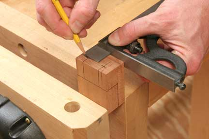 Marking center points for drilling dowel holes