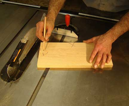 Marking cuts for table saw on board
