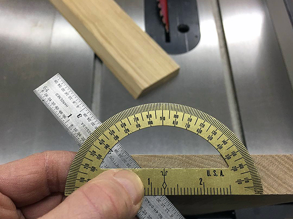 Finding angle for bevel cut with ruler and protractor