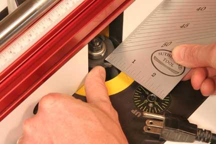 Measuring recess for router bit cut