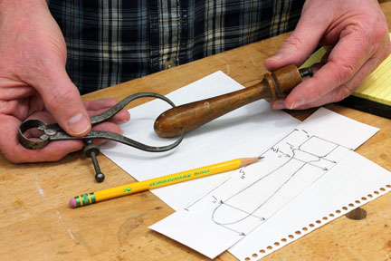 Measuring out the different parts of original spindle