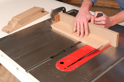 Cutting frame with miter cut at table saw