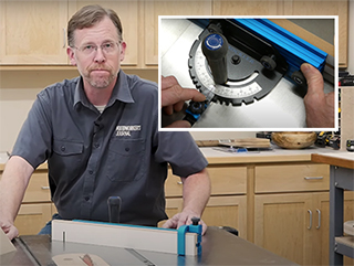man at workbench with table saw miter gauge