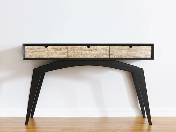 Modern console table with hempwood drawers