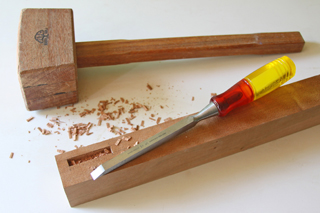 mortise cut with mortising chisel