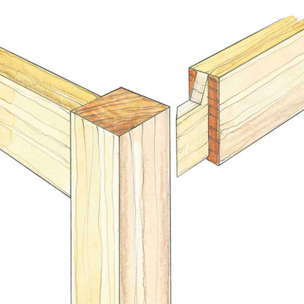 Diagram drawing of a mortise and tenon joint