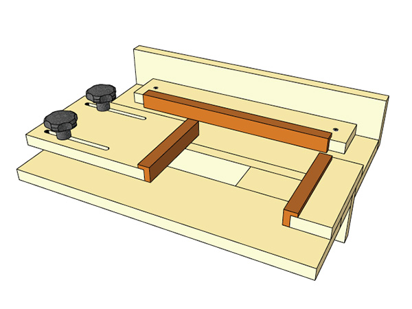 Drawing of a router jig for cutting mortises