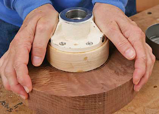 Gluing a bowl blank onto a mounting block