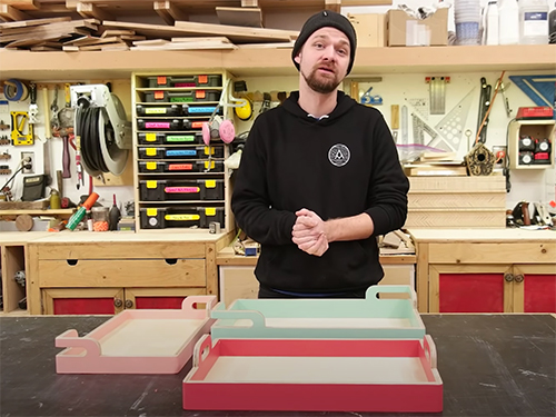 Michal Alm and a set of nesting plywood trays