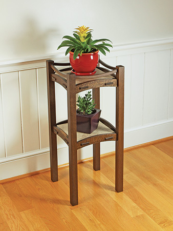 Oak plant stand project built with white oak lumber