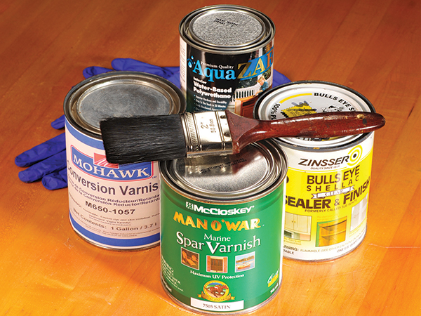 Examples of different varnishes for woodworking finish
