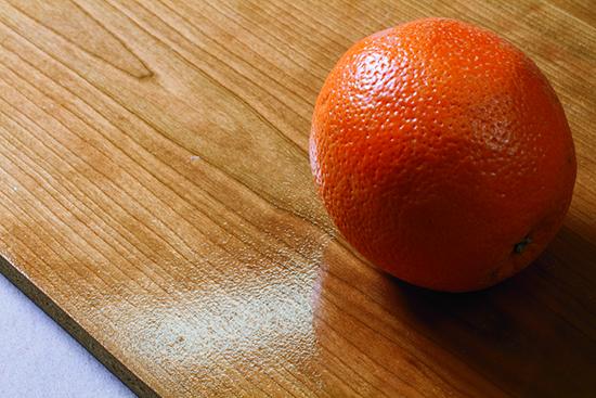 Spray finish pocked with an orange peel-like pattern