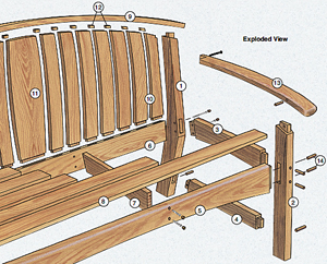 Drawing of an outdoor bench with marked lumber parts