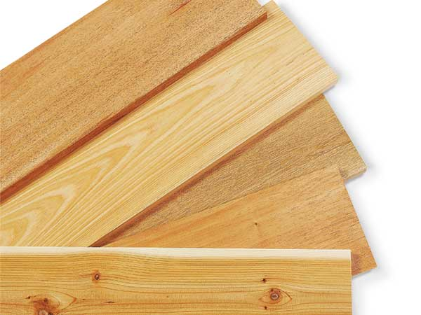 A selection of wood that can be used for outdoor projects