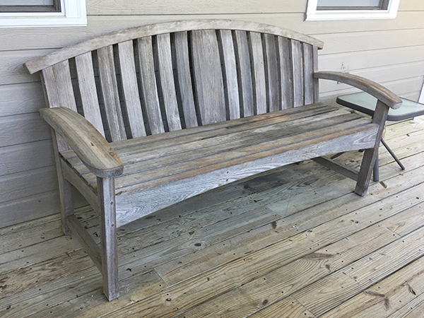 Unfinished outdoor bench made from cypress
